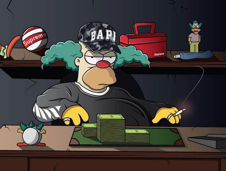 The Simpsons in BAPE, OFF-WHITE, Supreme & Yeezy Boost