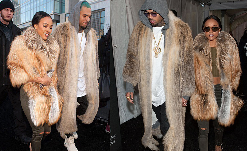PAUSEorSkip: Chris Brown and Karrueche Tran in Chunky Fur Coat at NYFW