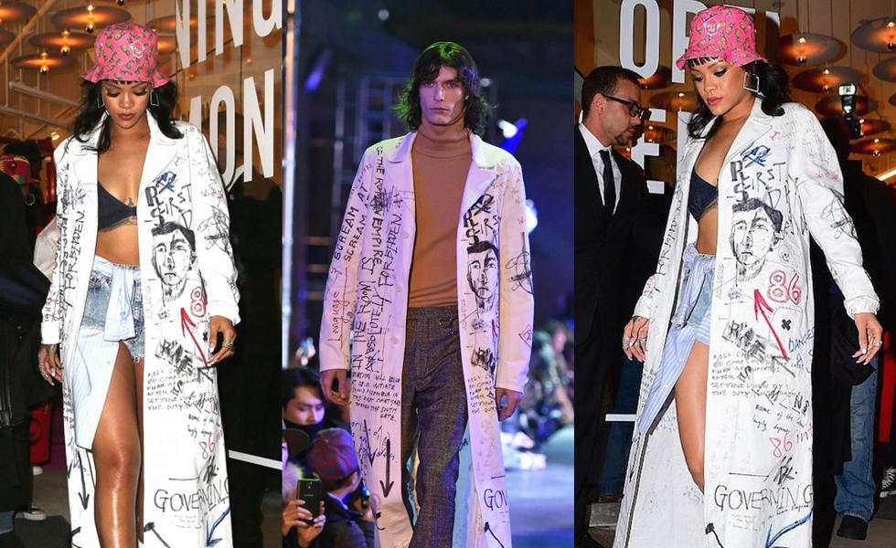 Spotted: Rihanna in Raf Simons Menswear Graffiti Coat