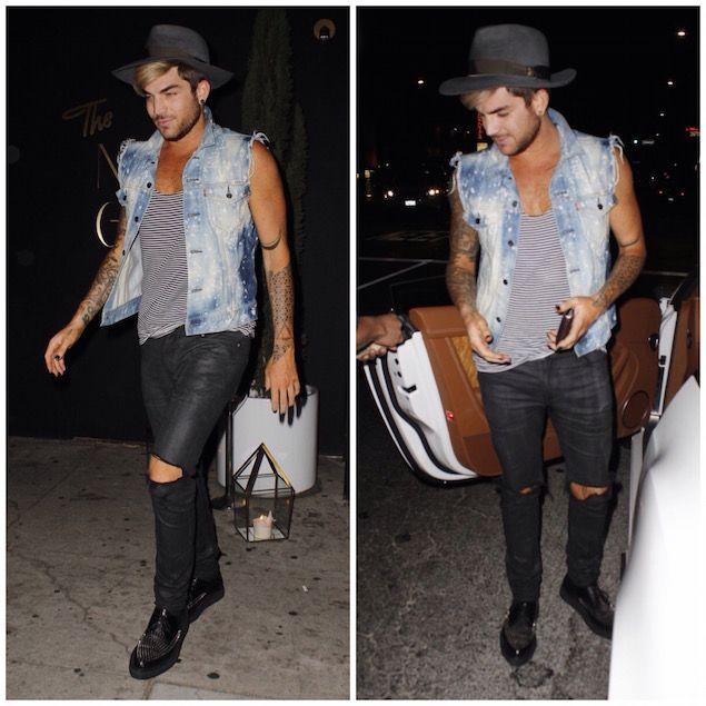 Adam Lambert Wears Levi's Denim Vest and Saint Laurent Studded Shoes