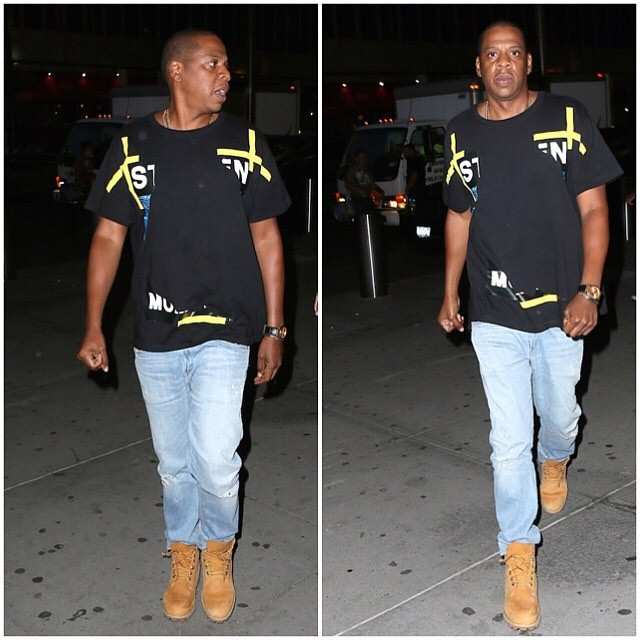 Spotted: Jay Z in Off-White and Timberland Boots at U2 Concert