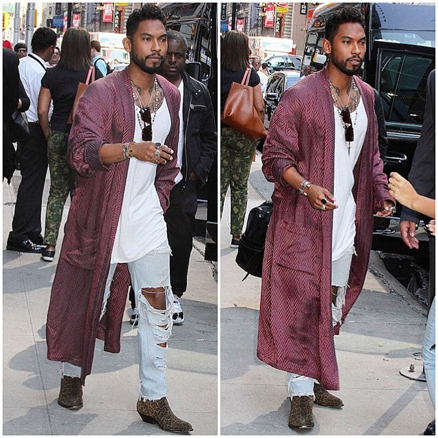 Miguel rocks Haider Ackermann and Saint Laurent in NYC
