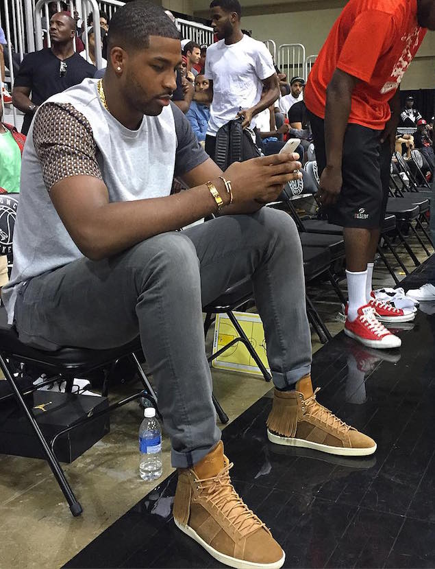 Spotted: Tristan Thompson in Saint Laurent Fringed Sneakers