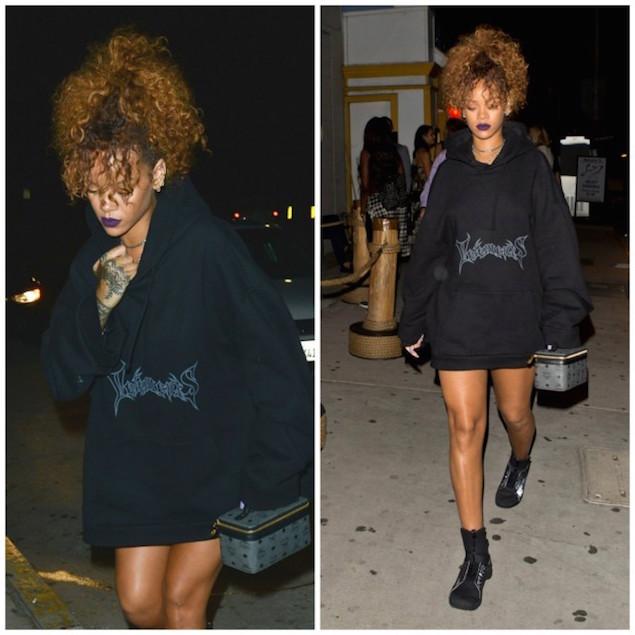 Spotted: Rihanna In Vetements Hoodie