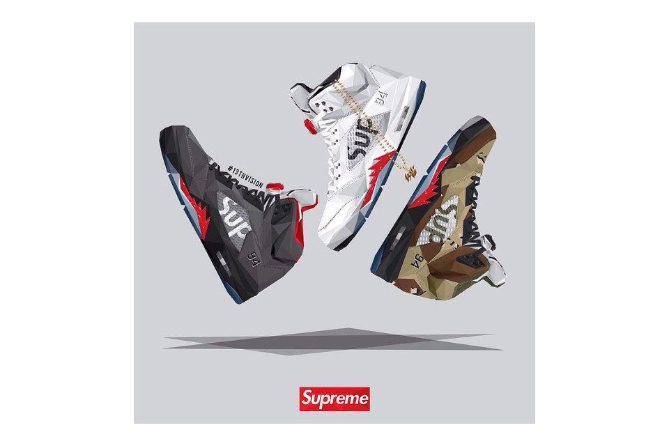 13th Vision Illustrates Supreme x Air Jordan 5 Collection