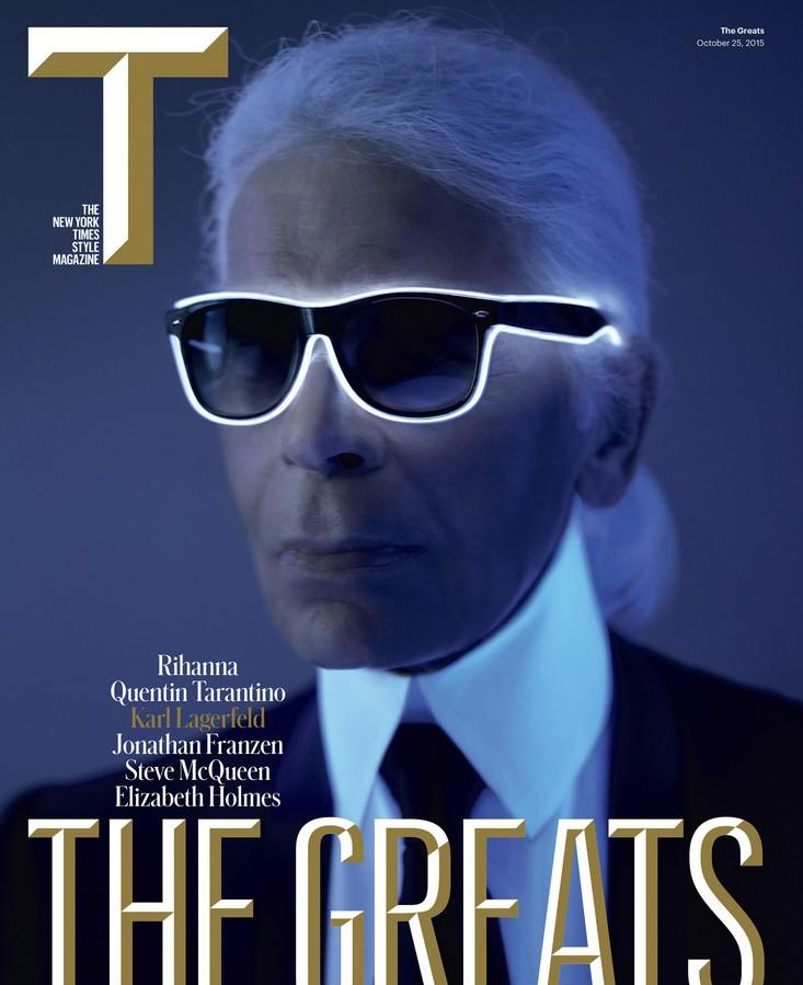 Karl Lagerfeld poses for The New York Time Style Magazine