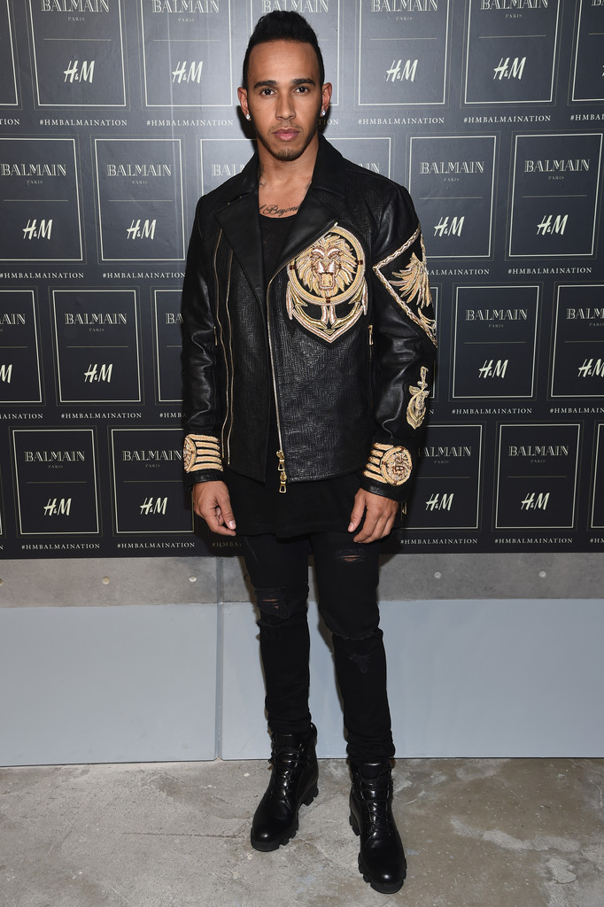 Spotted: Lewis Hamilton in Balmain x H&M Leather Jacket