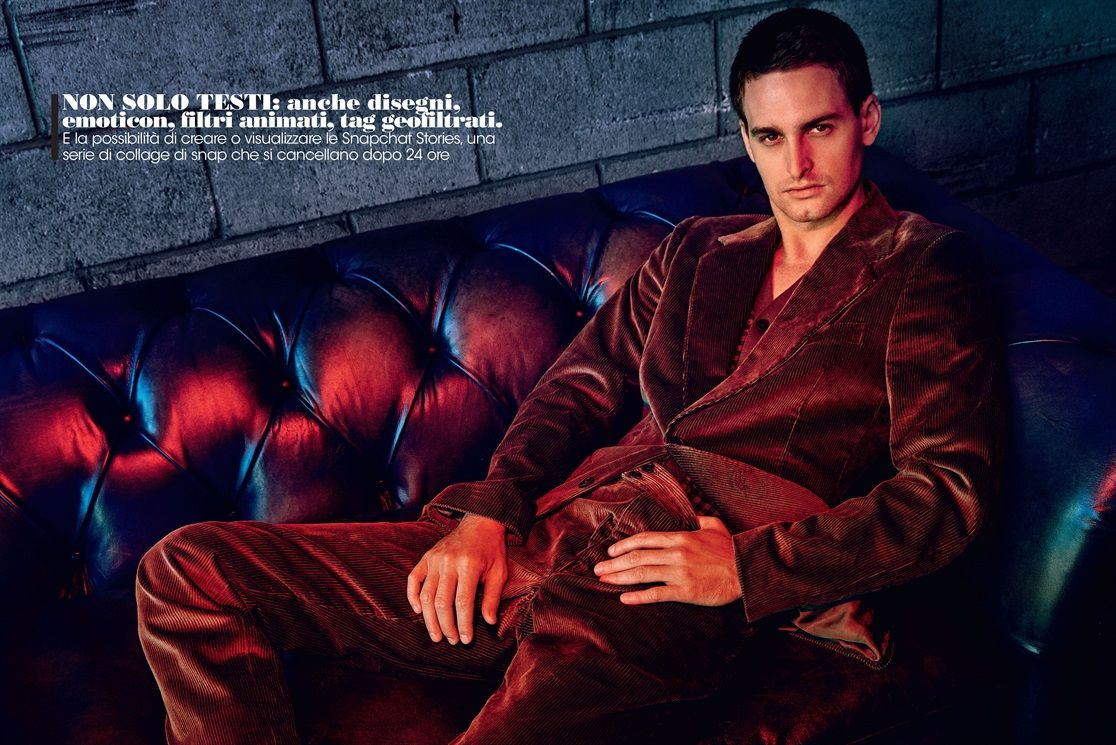 Snapchat CEO Evan Spiegel for Vogue Italy