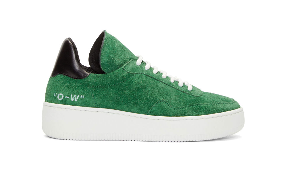 OFF-WHITE Officially Releases Green Suede Meadow Sneakers