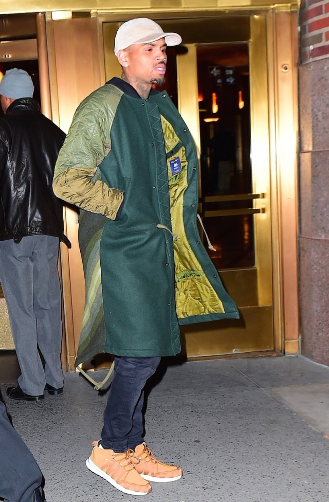 Spotted: Chris Brown in New York Wearing Maharishi and AMI