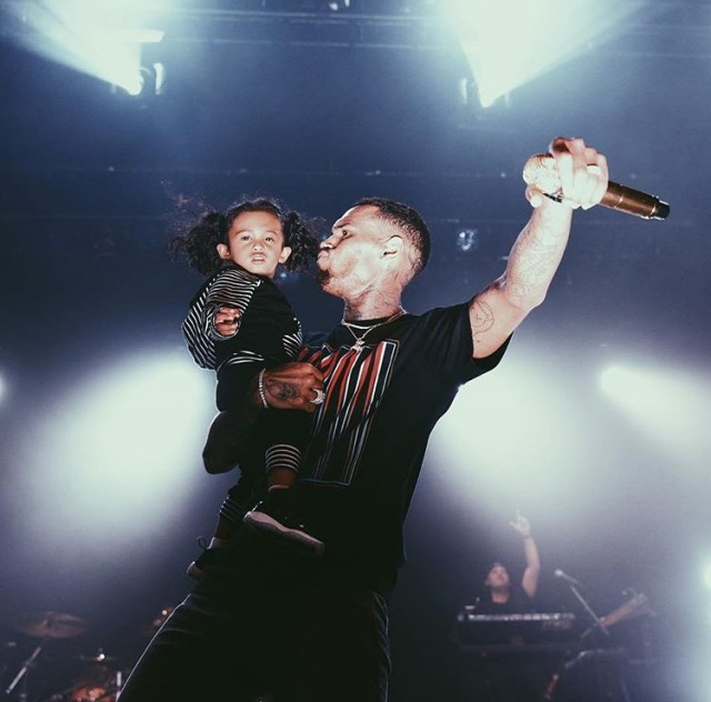 Chris Brown performs in Fred Perry x Raf Simons