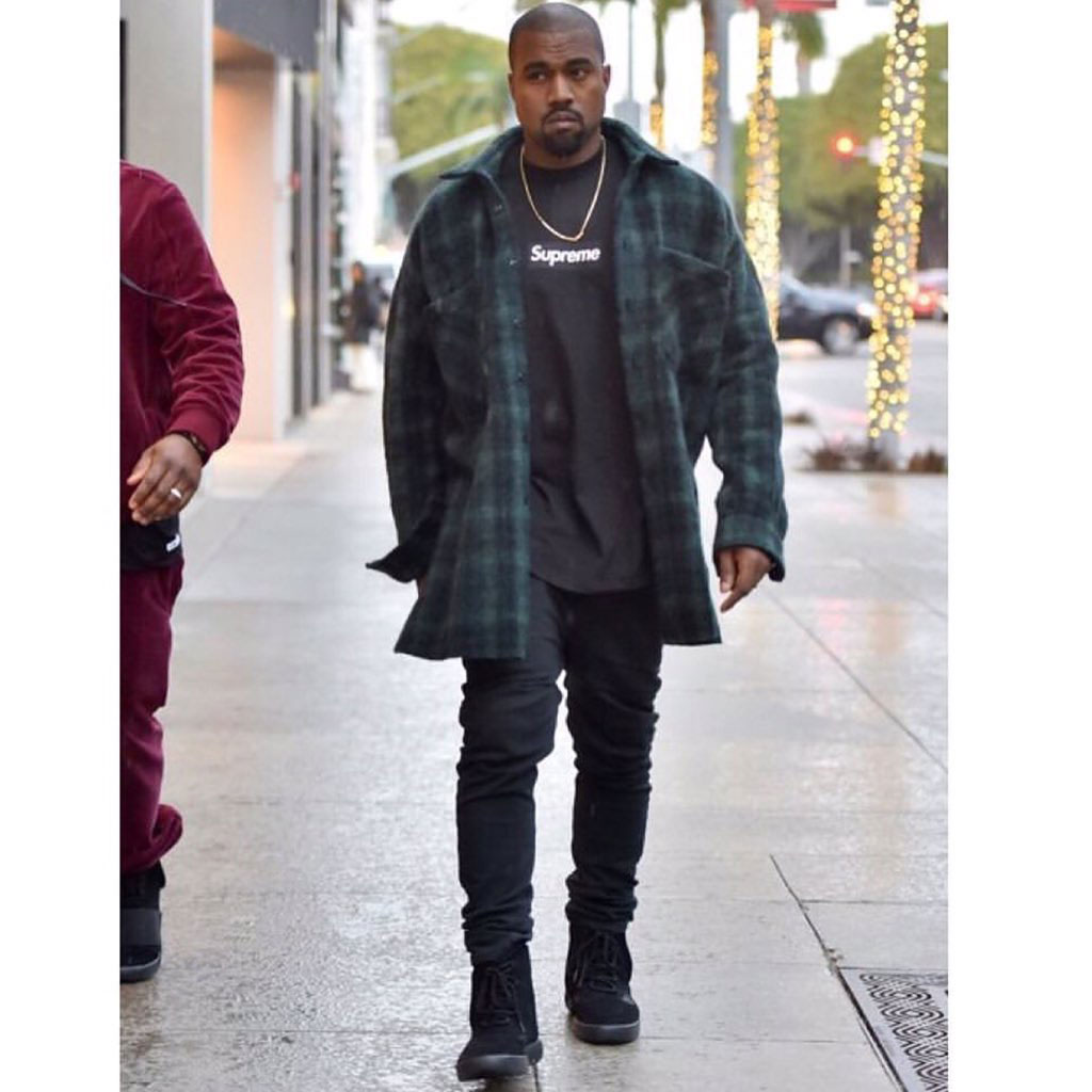 Kanye West spotted in adidas Yeezy 750 Boosts