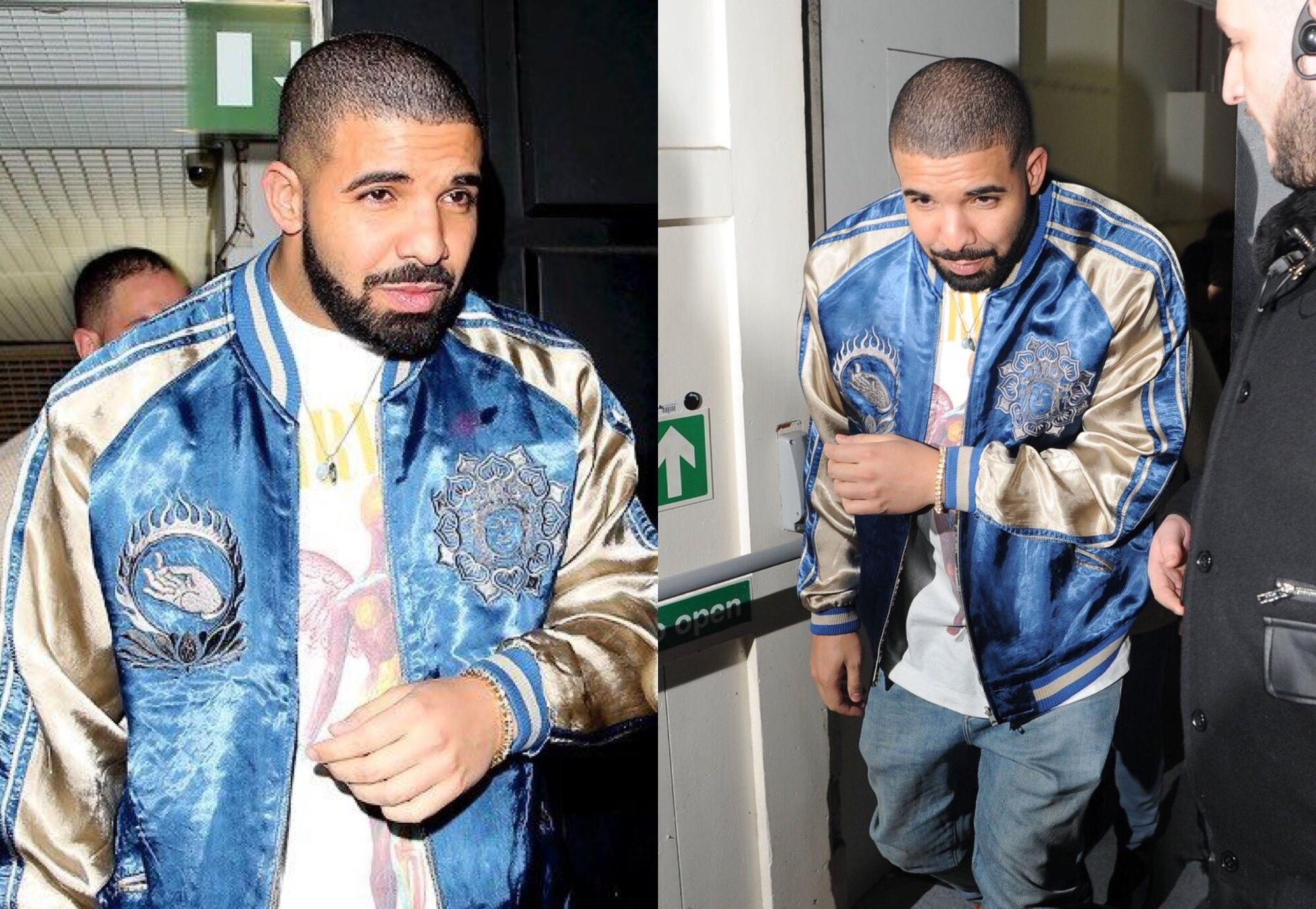 Get The Look: Drake Wears Silk Bomber Jackets in London