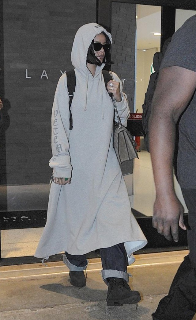 Spotted: Rihanna At LAX Wearing Vetements Sweatshirt Dress