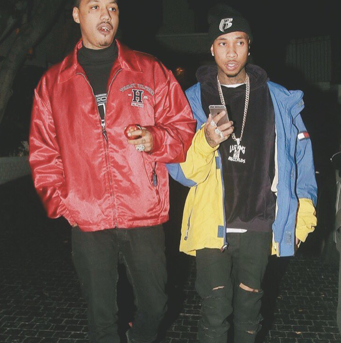 Tyga Takes It Back To The 90s in Vintage Tommy Hilfiger Jacket