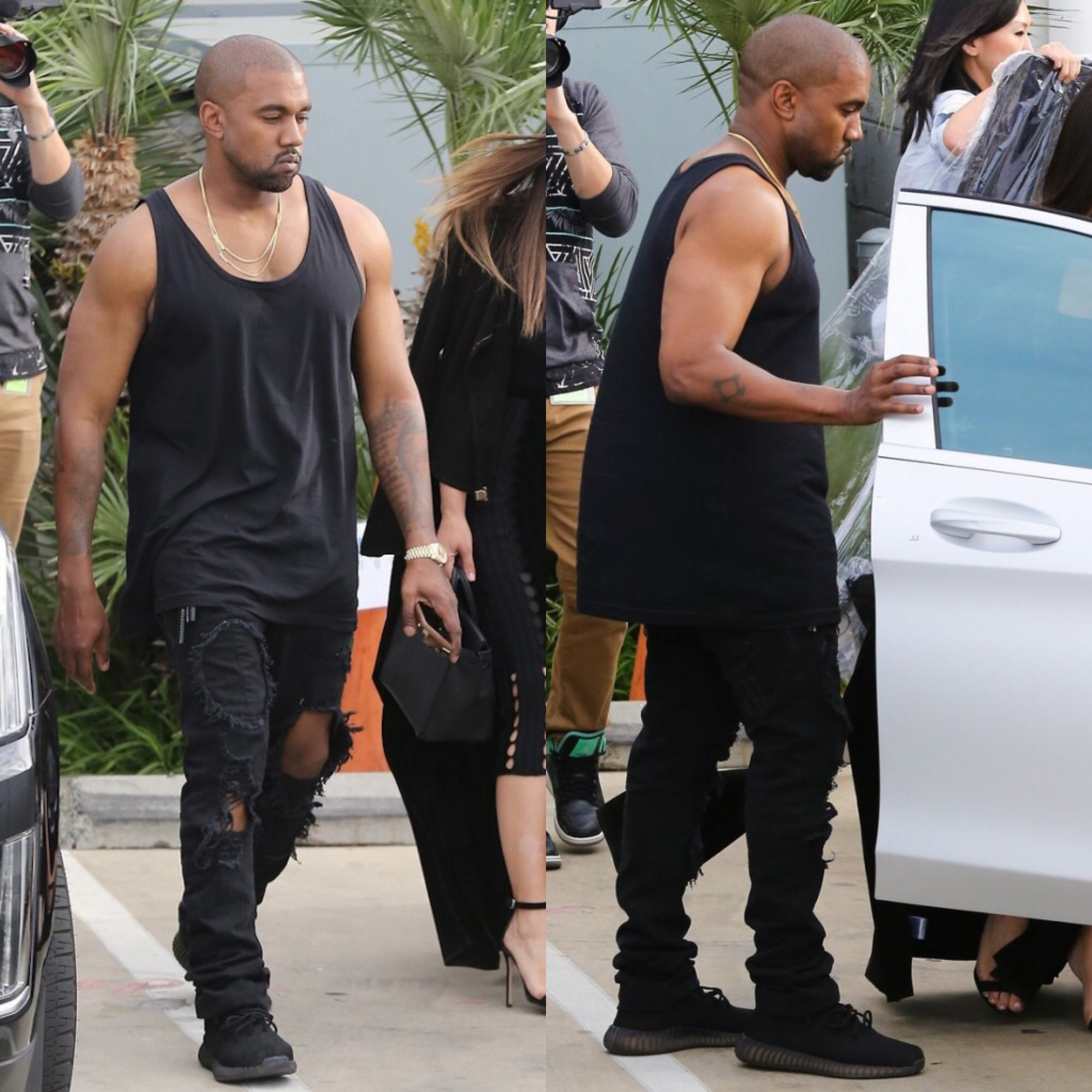 Spotted: Kanye rocking Yeezy Season 4 Shredded Jeans