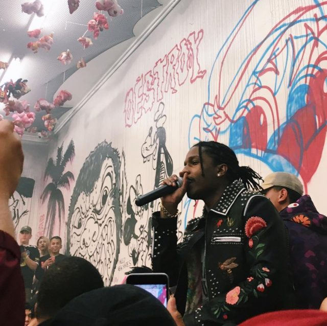 Spotted: ASAP Rocky At Vlone Pop-up In Gucci Leather Jacket