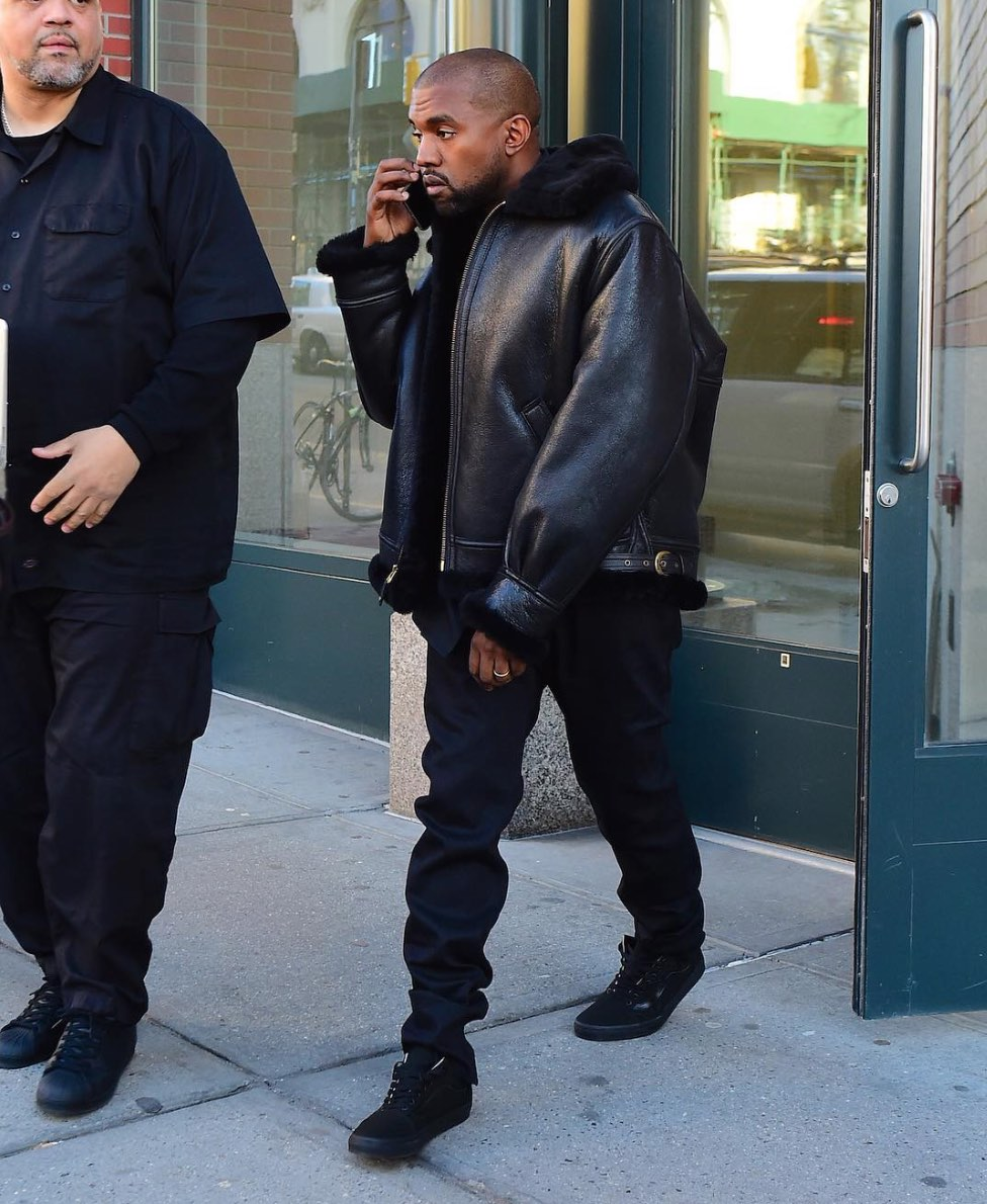 Spotted: Kanye West in Schott NYC Jacket And Vans Sneakers