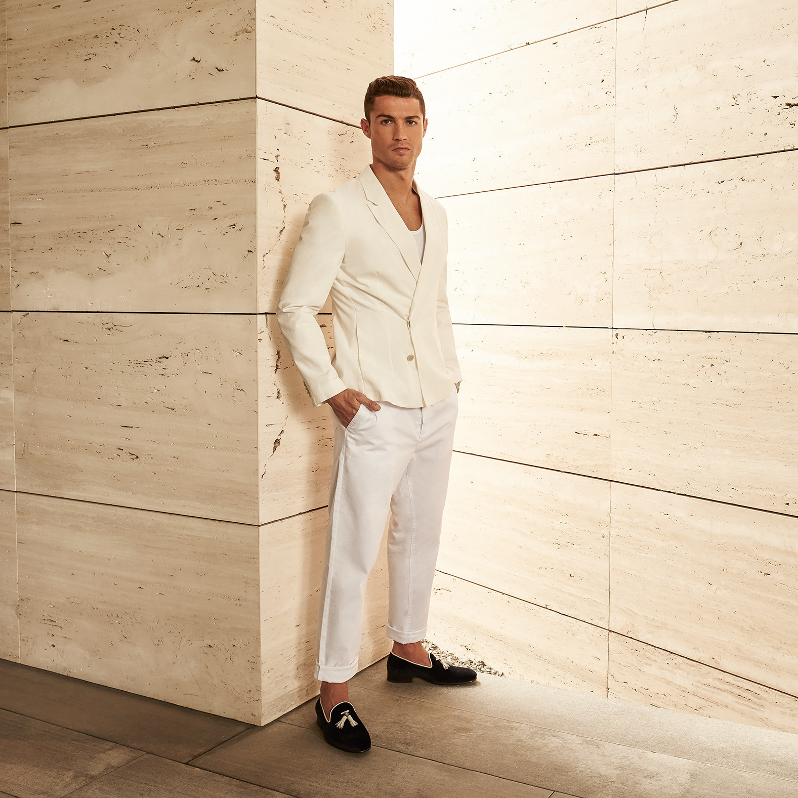Get The Look: Cristiano Ronaldo Stays Winning In All-White Suiting