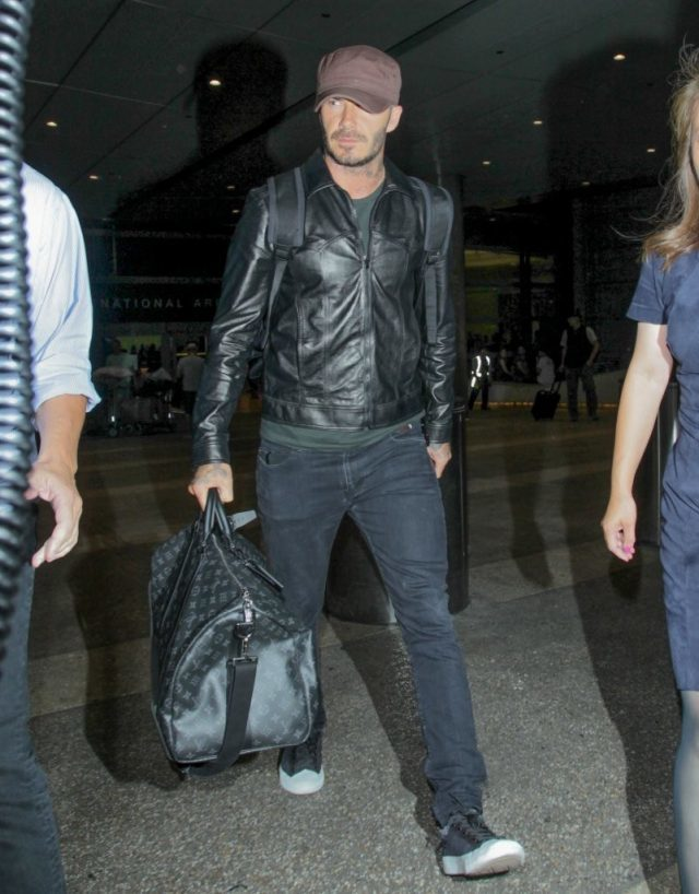 David Beckham Spotted In Ben Sherman, Saint Laurent & Louis Vuitton