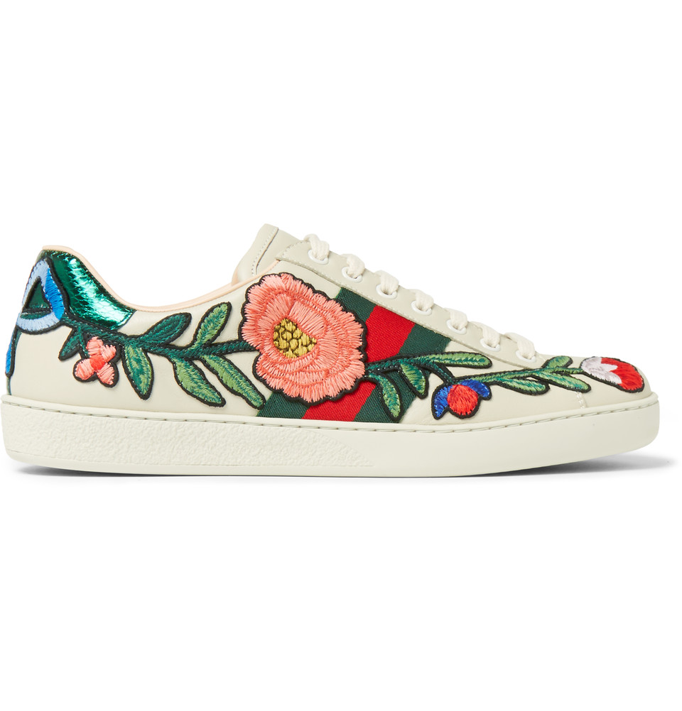 GUCCI Ace Appliquéd Snake-Trimmed Leather Sneakers