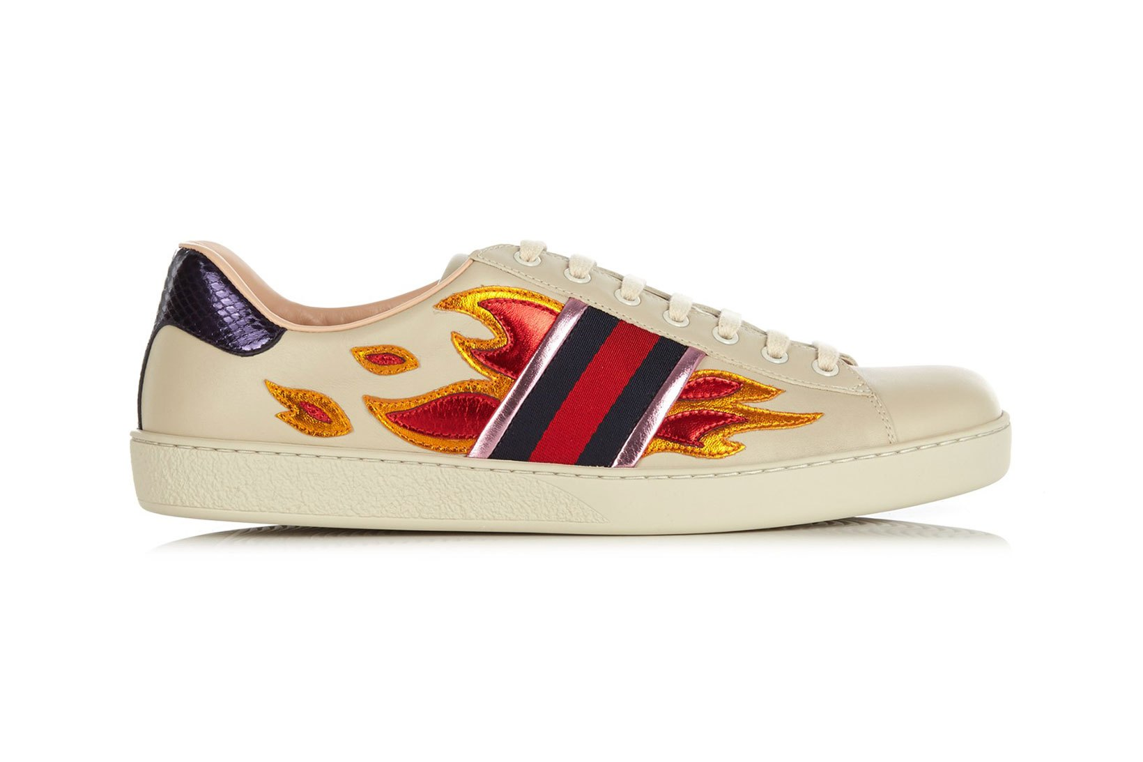 Gucci Launches New Metallic Flame Low Top Trainers
