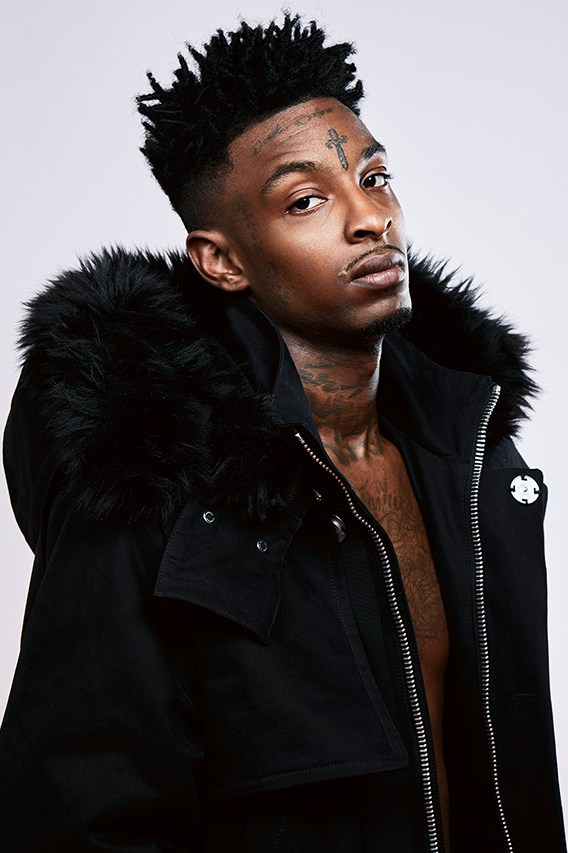21 Savage Rocks OFF-WHITE In Maniere's FW16 Lookbook