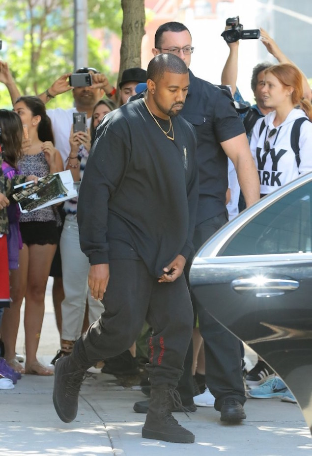 """Spotted: Kanye West in Yeezy Crepe Boots """" OFF-WHITE Joggers"""