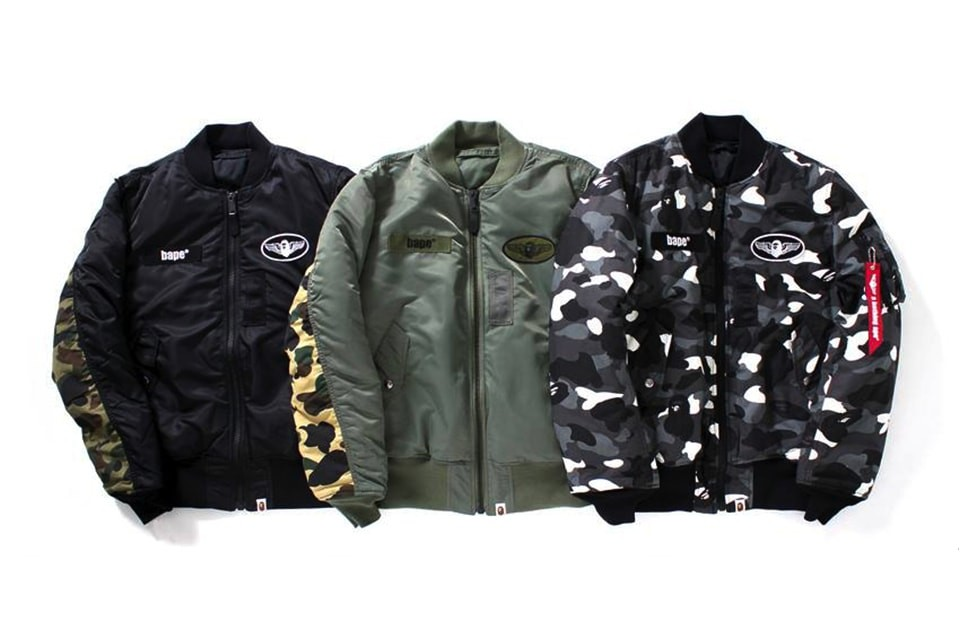 A Bathing Ape & Alpha Industries Collaborate On Camo Bombers