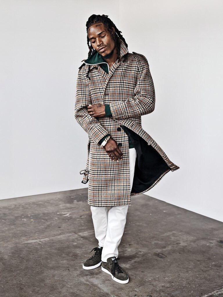 Fetty Wap Rocks Burberry Trench Coat and Jacket For GQ Magazine