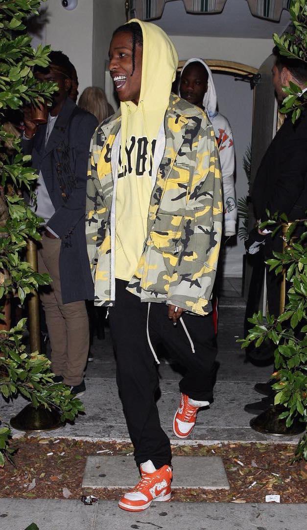 SPOTTED: ASAP Rocky In VLone Jacket, ASAP Mob Hoodie + Nike x Supreme Sneakers
