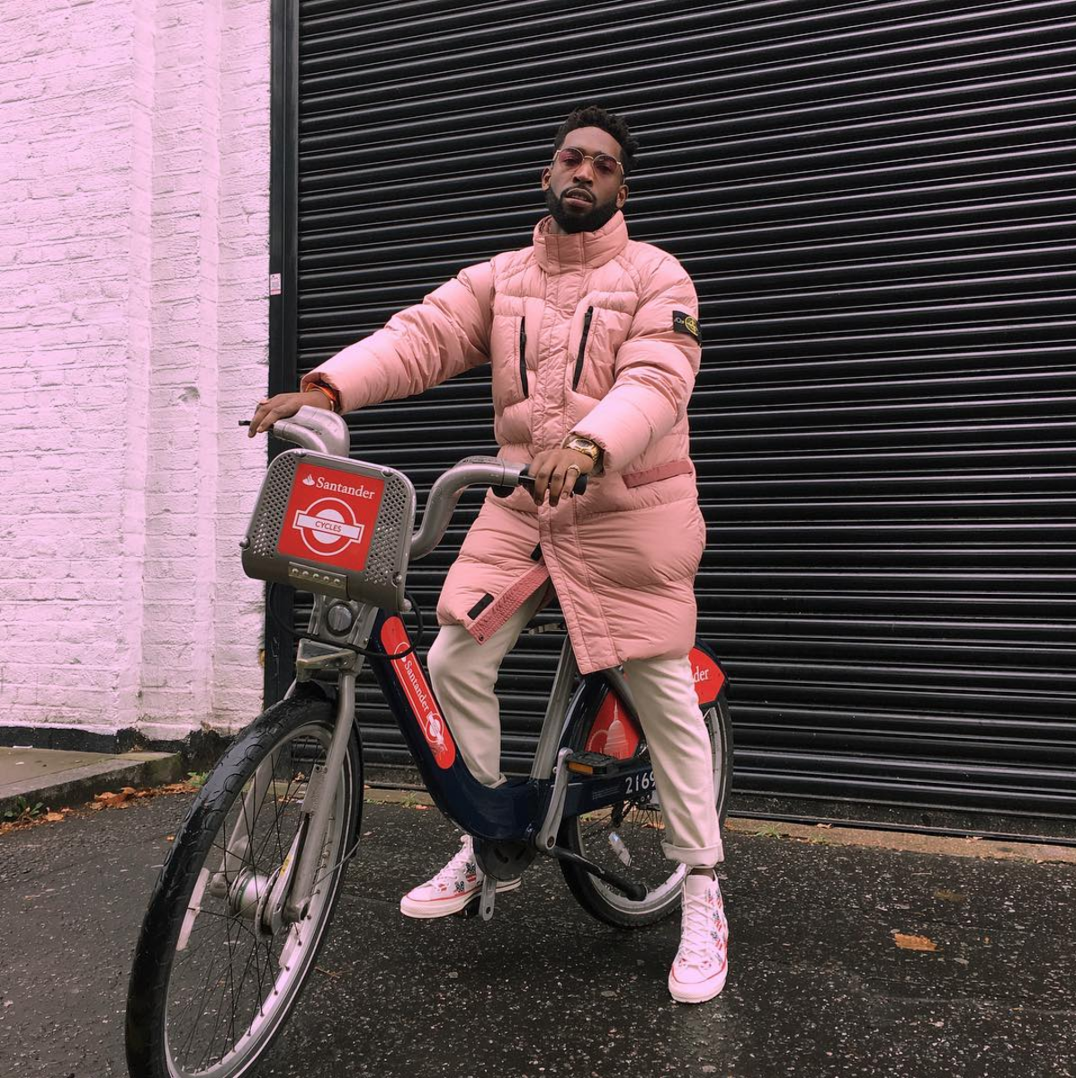 SPOTTED: Tinie Tempah In Pink Stone Island Puffa