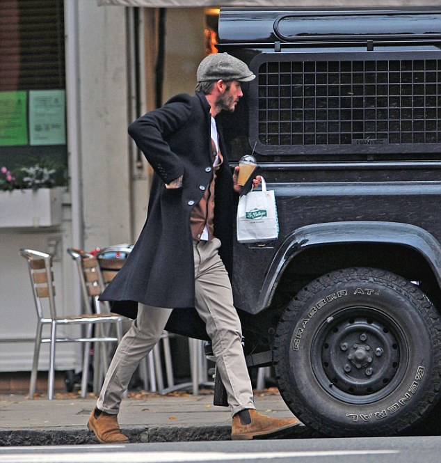 SPOTTED: David Beckham In Kent & Curwen Coat + Saint Laurent Chelsea Boots