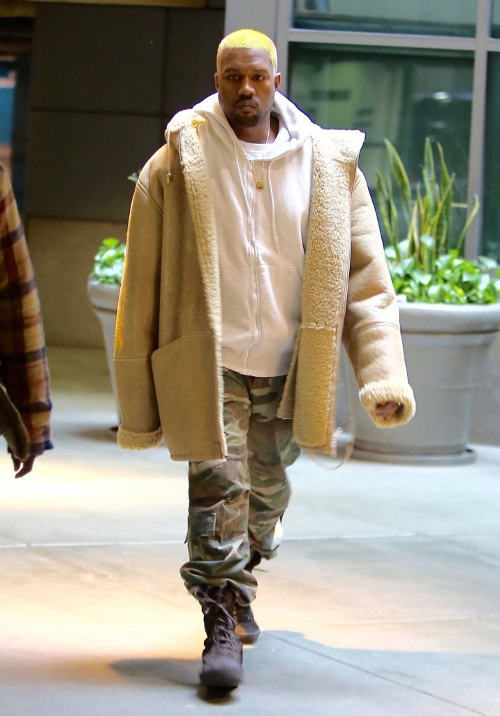 SPOTTED: Kanye West In Yeezy Shearling & Boots With New Hairdo