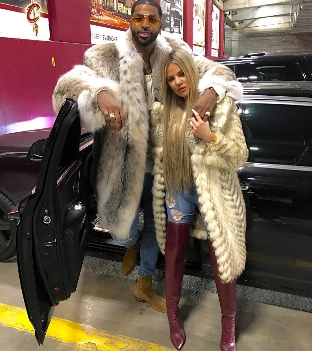 SPOTTED: Tristan Thompson Post Game In Fur Coat and Saint Laurent Boots
