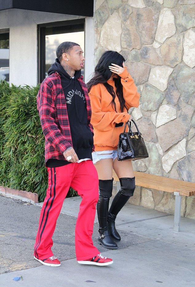 SPOTTED: Tyga With Kylie In Midnight Studios Hoodie, Gucci Pants and Sneakers