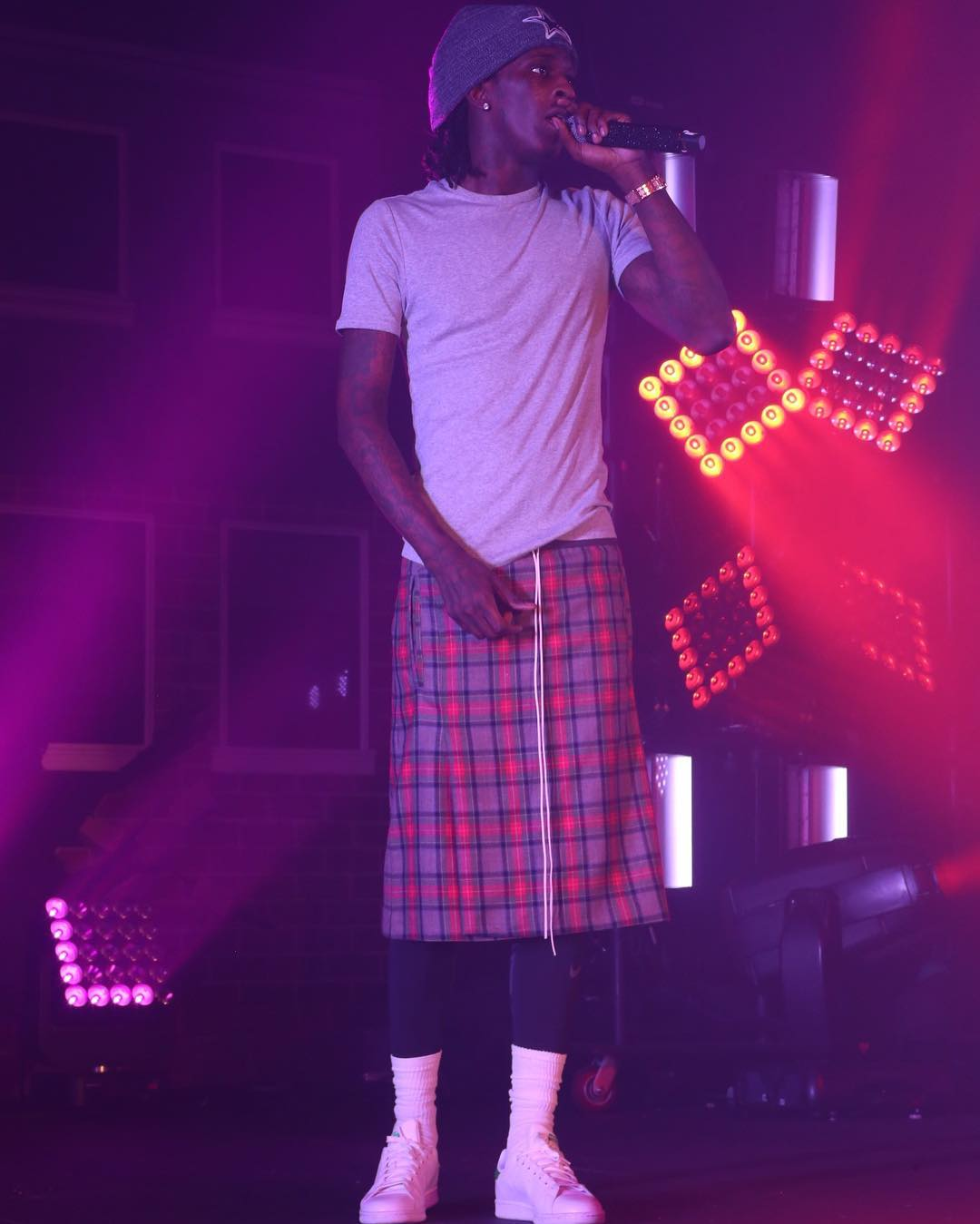 Young Thug On Stage In A Fear Of God Kilt