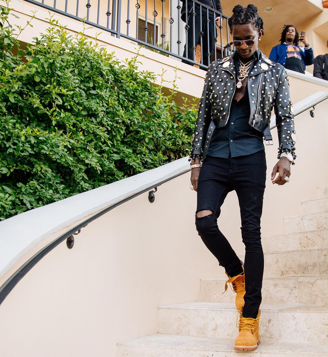 SPOTTED: Young Thug In Moschino and Timberlands