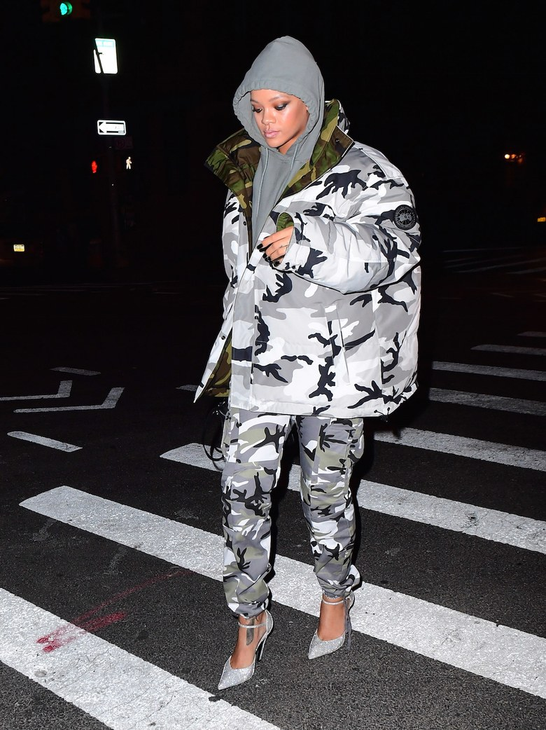 SPOTTED: Rihanna in Vetements x Canada Goose Camo Jacket and Matching Trousers