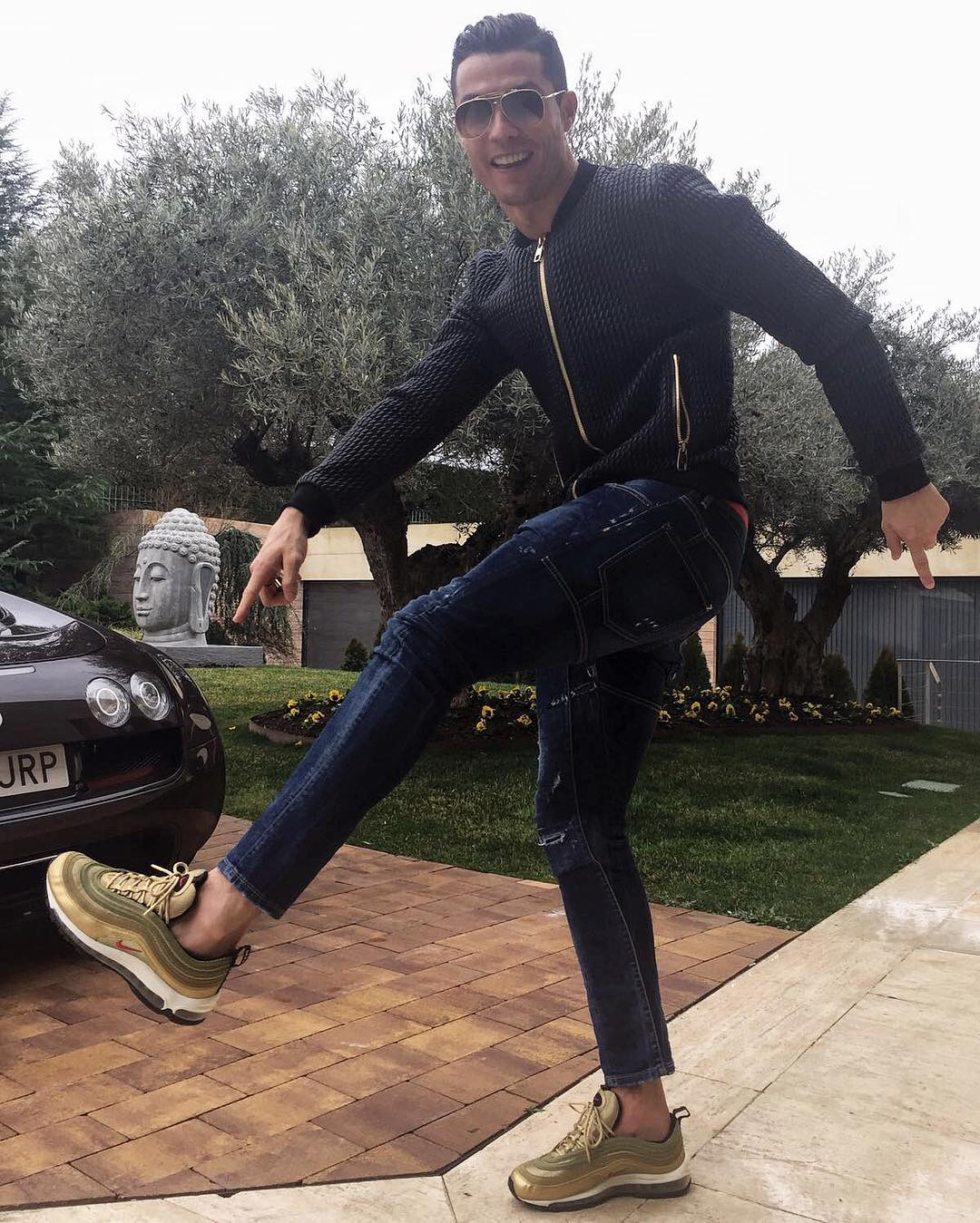 SPOTTED: Cristian Ronaldo In Dolce & Gabbana Jacket And Nike Air Max 97 Sneakers