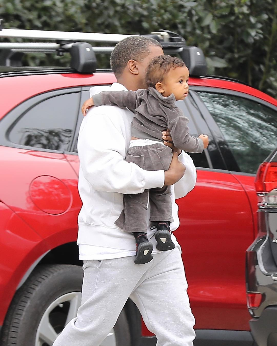 SPOTTED: Kanye West Wearing Champion Joggers and Yeezy Season Calabasas Sneakers