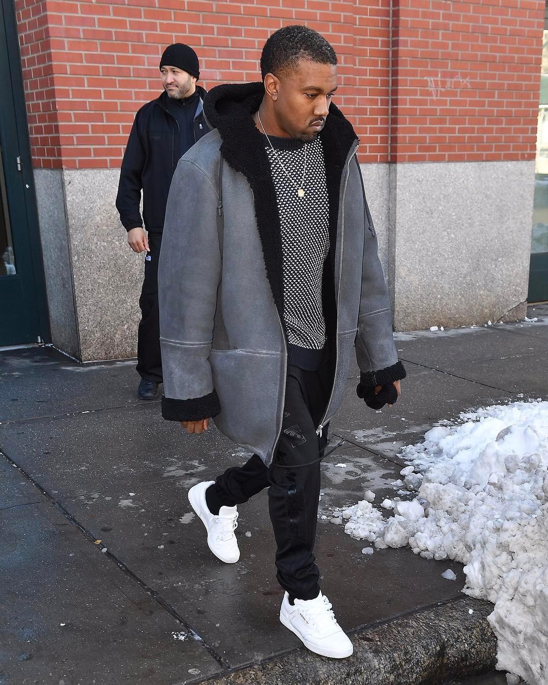 SPOTTED: Kanye West In Yeezy Season Coat And Yeezy Season Calabasas Sneakers