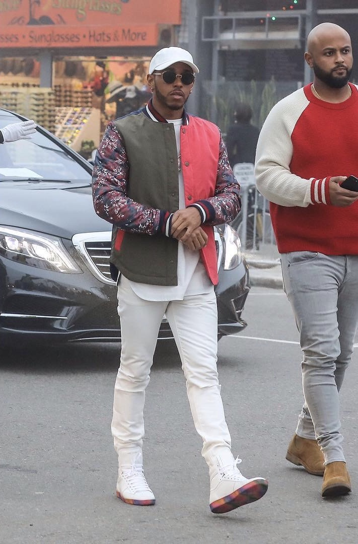 SPOTTED: Lewis Hamilton In Tommy Hilfiger Jacket And Saint Laurent Sneakers