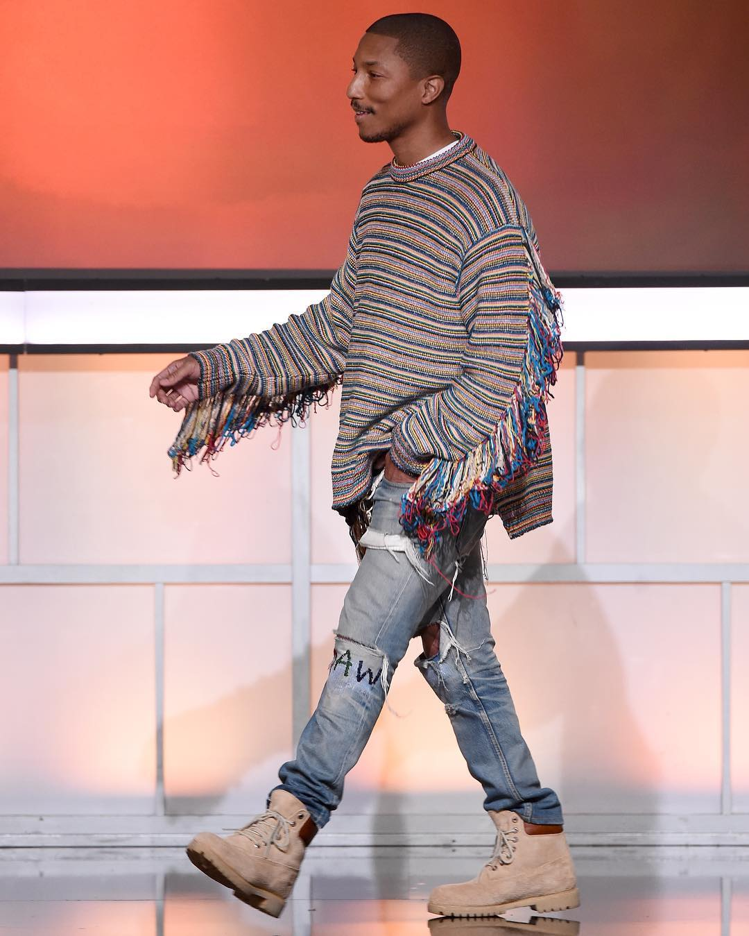 SPOTTED: Pharrell Williams In Stella McCartney Sweater And Timberland Boots