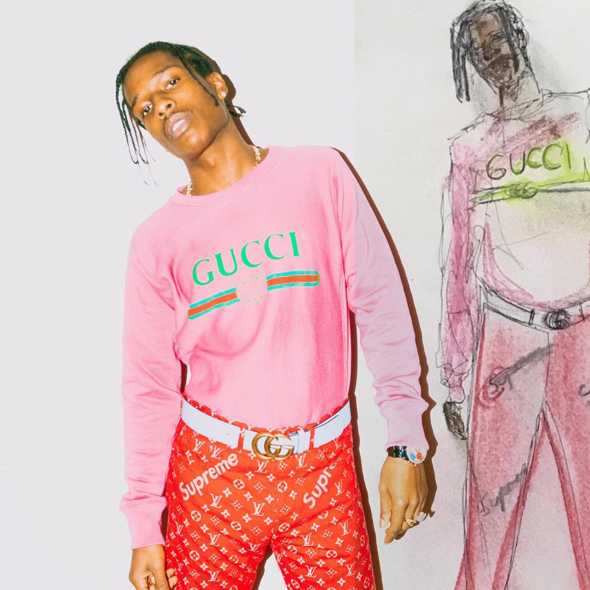 SPOTTED: A$AP Rocky In Gucci Sweater And 1/1 Supreme x Louis Vuitton Pants