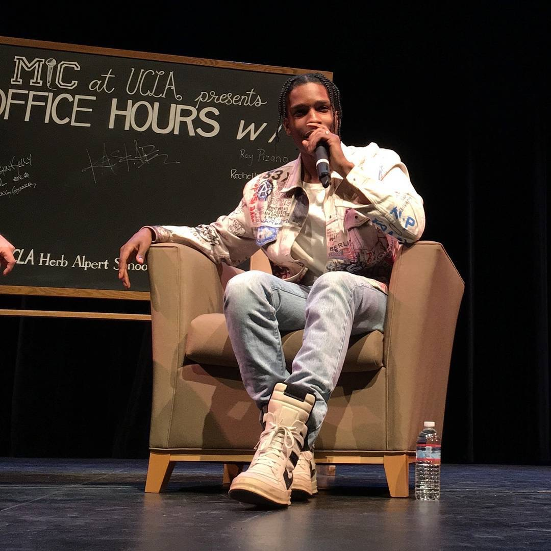 SPOTTED: A$AP Rocky In A Himumimdead Denim Jacket And Rick Owens Sneakers