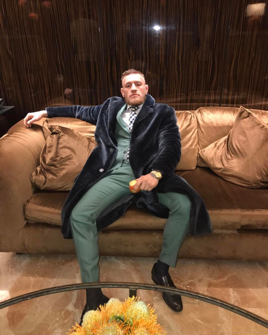 SPOTTED: Conor McGregor In Louis Vuitton Fur Coat And David August Suit