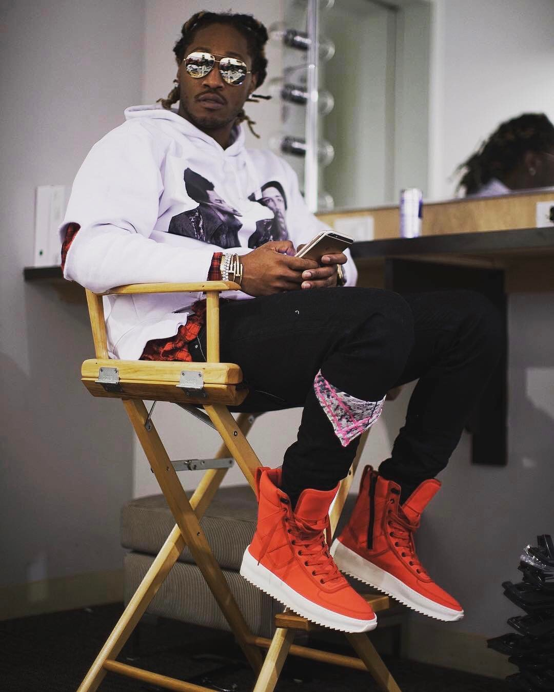 SPOTTED: Future In Ih Nom Uh Nit x HNDRXX Hoodie And 1 of 1 Fear Of God Infrared Sneakers