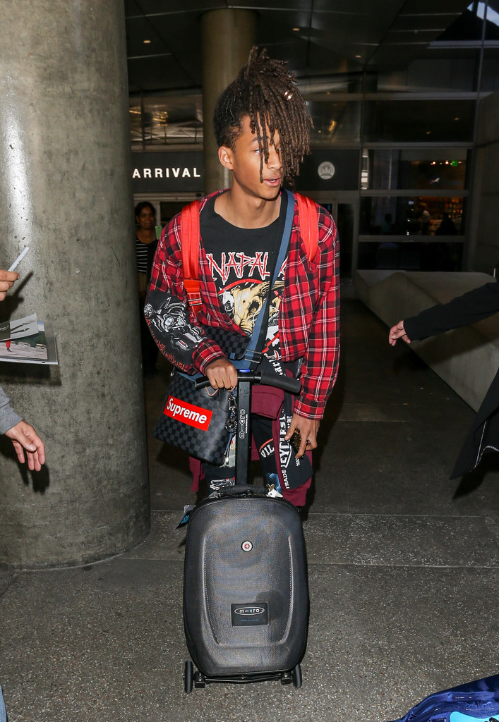 SPOTTED: Jaden Smith In Adidas NMD Sneakers And Customised Louis Vuitton x Supreme Bag