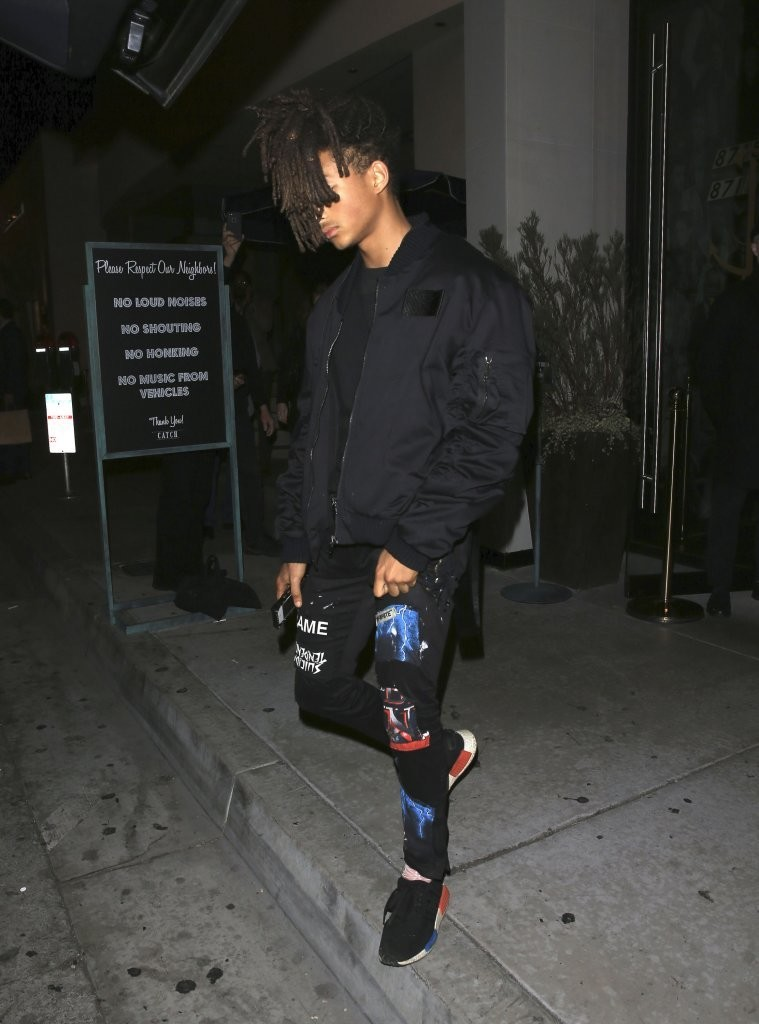SPOTTED: Jaden Smith In Black Bomber Jacket, Custom MSFTSrep Jeans And Adidas NMD Sneakers